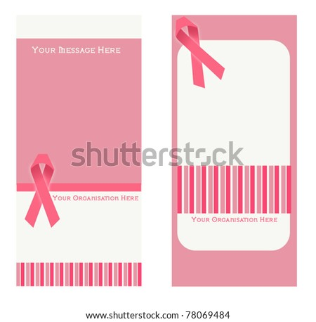 breast cancer awareness card - stock vector