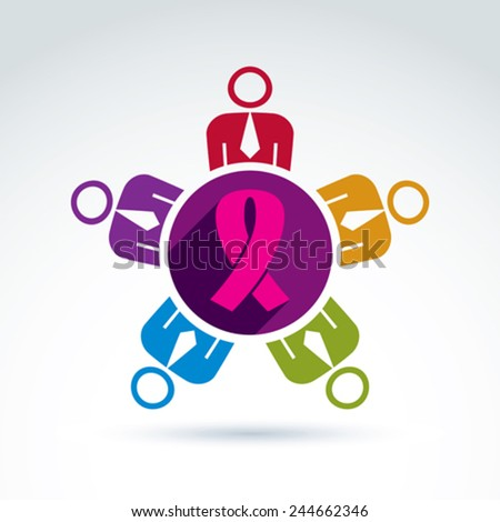 Breast cancer awareness idea. Group of people cooperating, international association for female health protection. Vector illustration of a team meeting. - stock vector