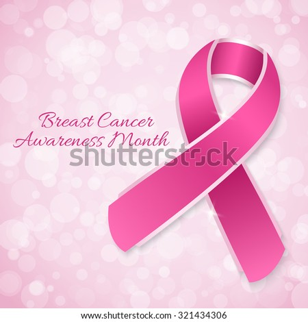 Breast Cancer Awareness month banner with pink ribbon - stock vector