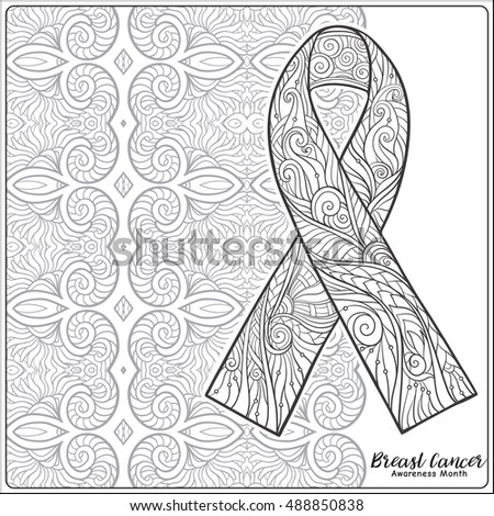 Breast Cancer Awareness Month Decorative Pink Ribbon On Mandala Background Anti Stress Coloring Book