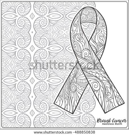 breast cancer awareness month decorative pink ribbon on decorative mandala background anti stress coloring book