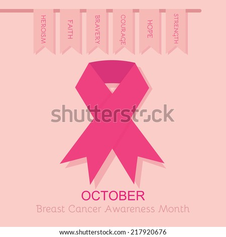Breast Cancer Awareness pink ribbon poster - with hanging flags on pink background - stock vector
