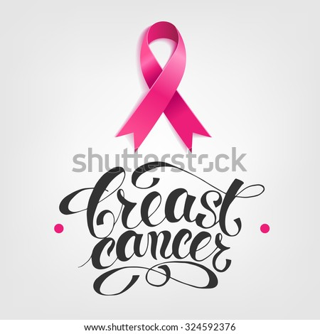 Breast Cancer Awareness pink Ribbon with lettering - stock vector