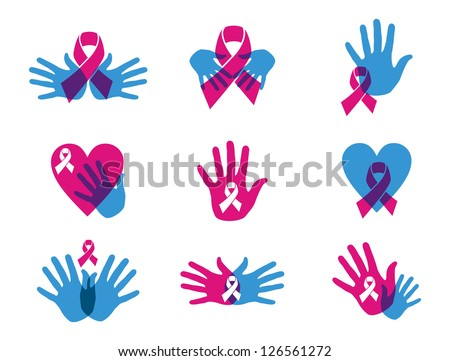 Breast cancer awareness ribbon transparency symbol set. Vector file layered for easy manipulation and custom coloring. - stock vector