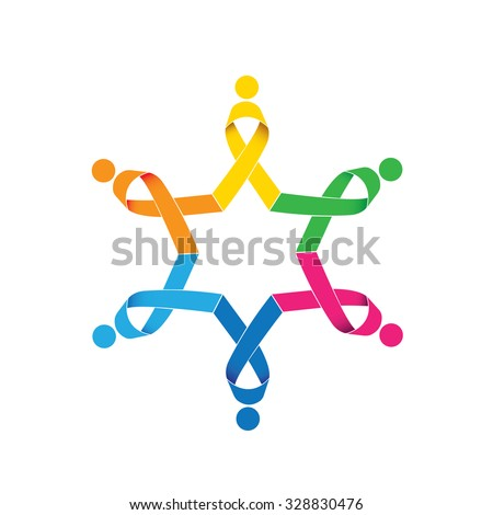 breast cancer awareness vector ribbon icons in circle. this also represents women fighting breast cancer with unity, as a team, teamwork - stock vector