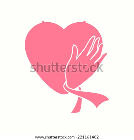 Breast cancer awareness, woman care, prevention, vector illustration - stock vector