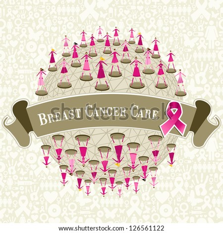 Breast cancer care globe awareness with women teamwork on icon set background. Vector file layered for easy manipulation and custom coloring. - stock vector