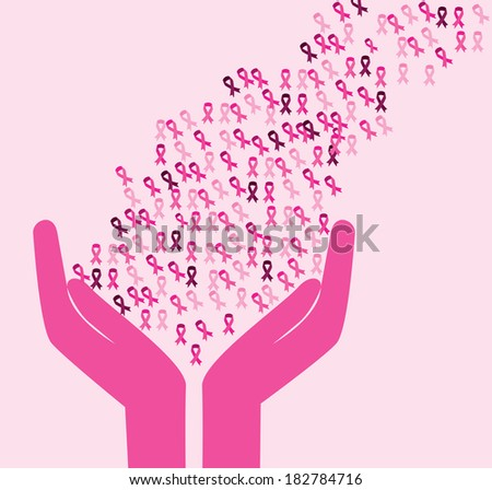 Breast cancer design over pink background, vector illustration - stock vector