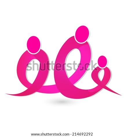 Breast cancer figures ribbon concept. Unity group in campaign vector symbol - stock vector