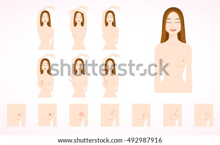 Breast cancer monthly examination icon,recommend self exam instruction.Chest oncology tumor symptoms.Cute flat cartoon style for medical flyers, brochures.Woman check breast cancer.Hand drawn vector