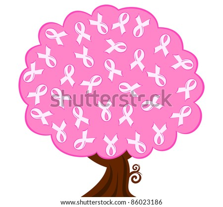 breast cancer pink ribbon tree. vector