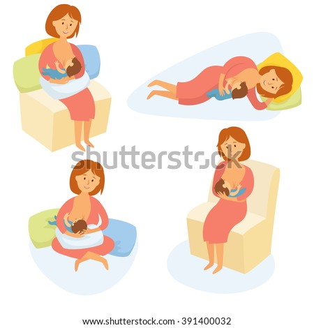Breastfeeding position. Mother feeds baby with breast. Comfortable pose for feeding child. Mom lactation infant milk. Motherhood and childhood. Woman breastfeed baby in different poses. Cartoon vector