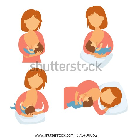 Breastfeeding position. Mother feeds baby with breast. Comfortable pose for feeding child. Mom lactation infant milk. Motherhood and childhood. Woman breastfeed baby in different poses.  - stock vector