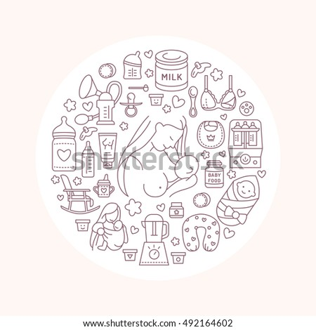 Modern vector line icon breastfeeding baby stock vector for Breastfeeding brochure templates