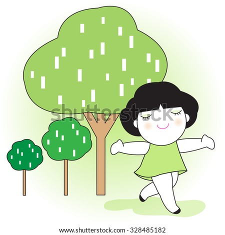 Breathing Fresh Air Is So Good Character illustration - stock vector