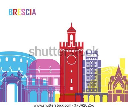 Brescia skyline pop in editable vector file - stock vector