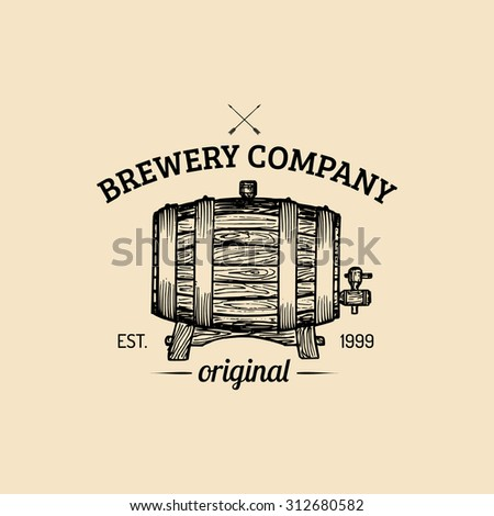 Brewery logo. Vector vintage brewery logo. Retro logotype with beer. Brewery sign. Beer icon. - stock vector