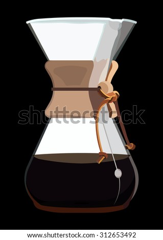 Brewing Coffee on Black Background - stock vector