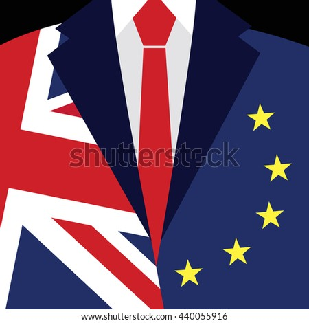 Brexit concept. British flag, EU flag. EU referendum. Symbol of imminent exit of Great Britain out of the European Union. Vector illustration background. - stock vector