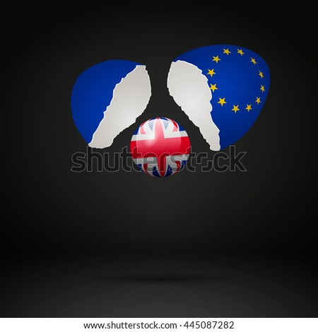Brexit Cracked eggs - stock vector