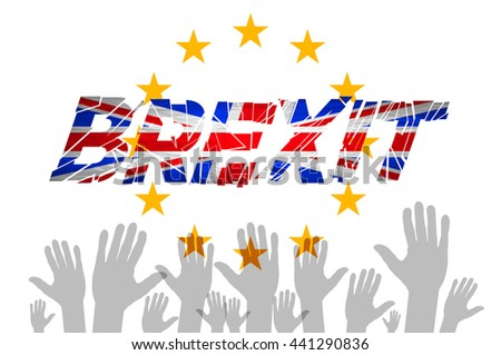 Brexit Text Isolated art vector hand. flag of the European Community of the United Kingdom vector art