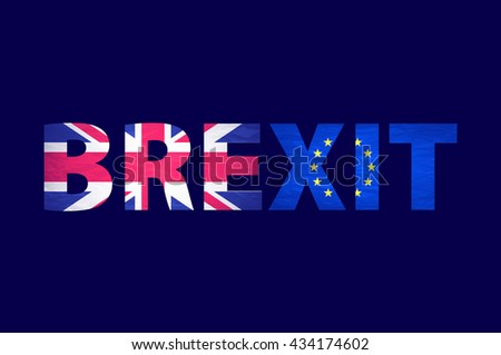 Brexit Text Isolated. United Kingdom exit from europe relative image. Brexit named politic process. Referendum theme art - stock vector