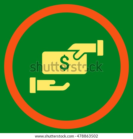 Bribe vector bicolor rounded icon. Image style is a flat icon symbol inside a circle, orange and yellow colors, green background.