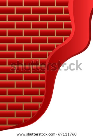 Brick background.The abstract background consisting of red bricks and a red volume strip. - stock vector