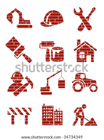 Brick construction icons, vector illustration, EPS file included - stock vector