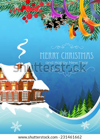 Brick cottage with a smoking chimney among pine forest . Idyllic winter scene. - stock vector