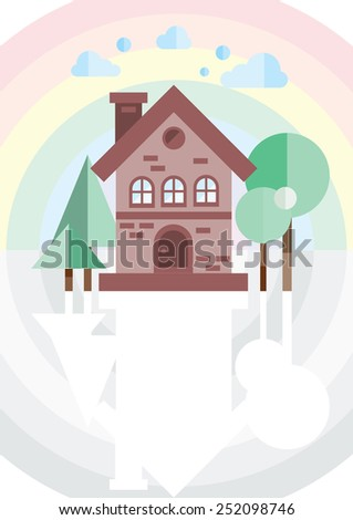 brick house on a background of the rainbow - stock vector
