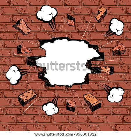 Brick in the wall. Boom comics backgrounds, vector illustration