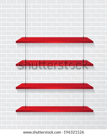 Brick wall and red shelves - stock vector