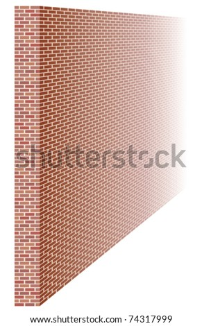Brick wall fading away into distance - stock vector