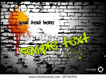brick-wall texture - grungy urban background - stock vector