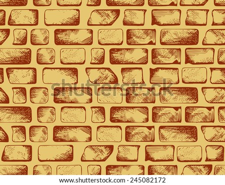 Brick wall texture. Seamless background. Doodle style - stock vector