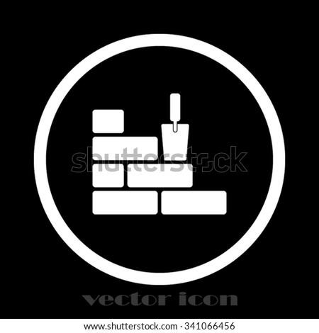brick wall trowel - stock vector