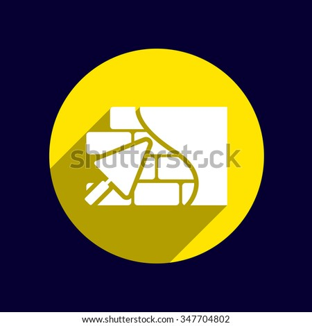 Brick wall trowel icon button logo symbol concept. - stock vector