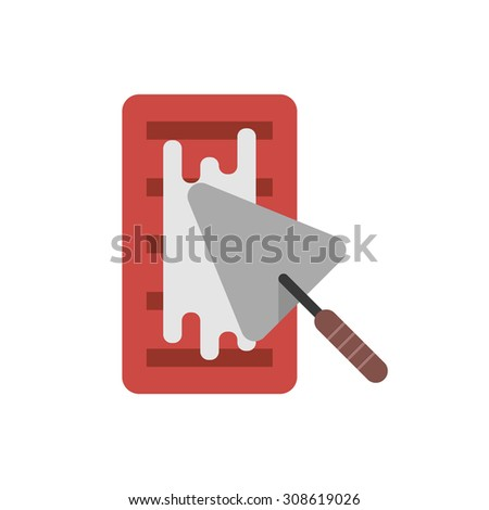 brick with cement and trowel. concept of implement, workshop, household, create, major overhaul, housing construction. isolated on white background. flat style trend modern design vector illustration - stock vector