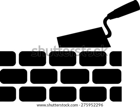 Brick with Trowel Symbol - stock vector