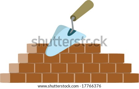 bricklayer and trowel vector - stock vector