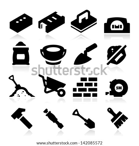 Bricklayer Icons - stock vector