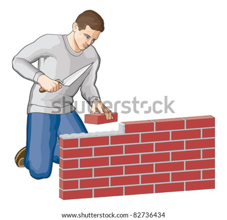Bricklayer is an illustration of a man building a brick wall. Vector format is easily edited or separated for print and screen print. - stock vector