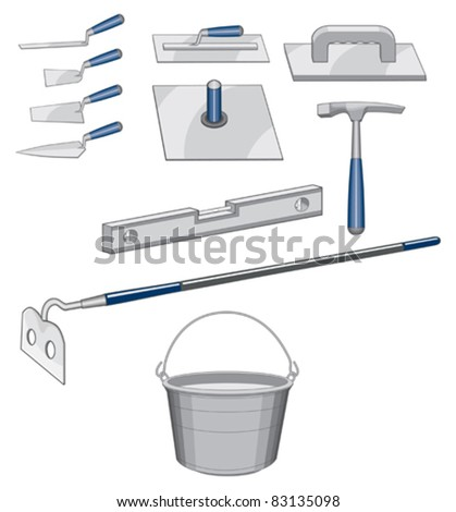 Bricklayer Masonry Tools is an illustration of tools used for bricklaying or masonry work. - stock vector