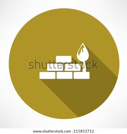 bricks and trowel icon - stock vector
