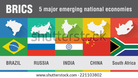 BRICS Brazil, Russia, India, China, South Africa world map in flat style with 4 colors. Modern map design. - stock vector