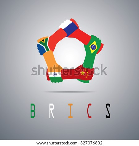 BRICS country logo, Brazil, Russia, India, China and South Africa - stock vector