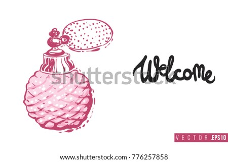 Bridal greeting card french perfume text stock vector 776257858 bridal greeting card with french perfume and text welcome tender pink composition for wedding stopboris Images