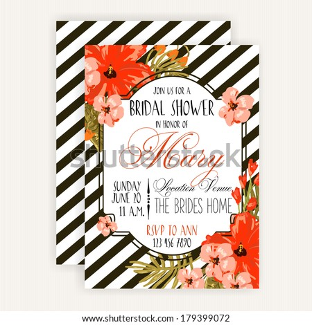 Bridal Shower Card - stock vector