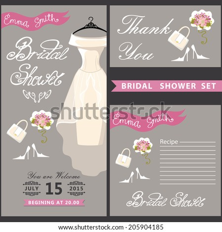 Bridal shower design templat set wedding stock vector 205904185 bridal shower design templat set with wedding dress in retro style with high heel shoes filmwisefo Images